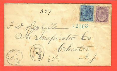 Canada; Registered Jun 1, 1899; 5 Cent Queen; Atwood, Ontario to Chester, NY