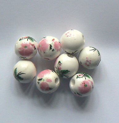Bead Porcelain Round 12mm White & Bright Pink flower x 8 beads
