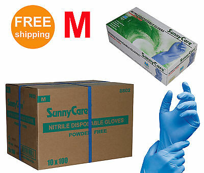SunnyCare 1000/Cs Nitrile Disposable Gloves Powder Free (Latex Free) Size:Medium