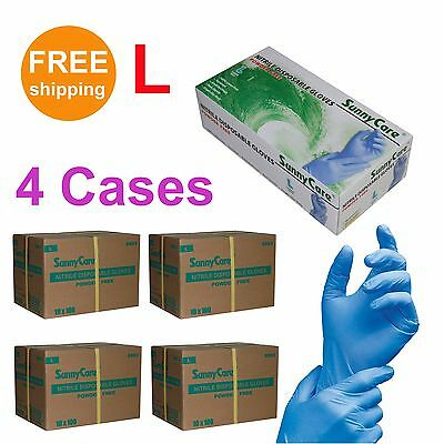 SunnyCare 4000 Nitrile Disposable Gloves Powder Free (Latex Free) Size: Large