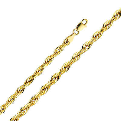 14K Solid Yellow Gold 4mm Diamond Cut Hollow Rope Chain 18 Inches