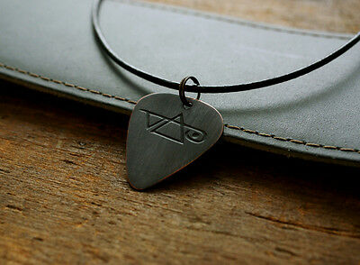 Hand Made Etched Copper Guitar Pick Necklace with Steve Vai