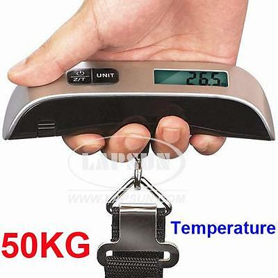 110LB 50KG LCD Digital Baggage Travel Luggage Weight Hook Scale w Temperature AU