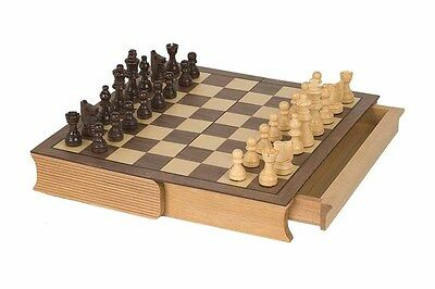 """2152A BOOKSTYLE 12"""" CHESS BOX with Storage & Pieces  2 1/2"""" KING - 1 5/16"""" sqs"""