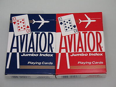 2 Decks Aviator Poker Jumbo Index Playing Cards 1 red 1 blue Bicycle new game