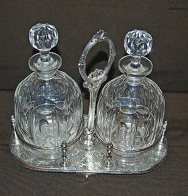 Cruet Set Of 2 Crystal Bottle & Silver Plated French C 1781 Fine  Design Signed