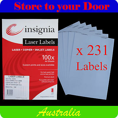 231 x STICKER LABELS / PRINTER LABEL / ADDRESS STICKERS - (64 x 24mm)