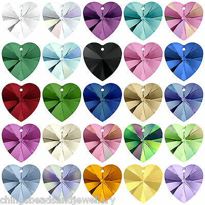 4 SWAROVSKI ELEMENTS 6228 Crystal Xilion Heart 10mm Pendants