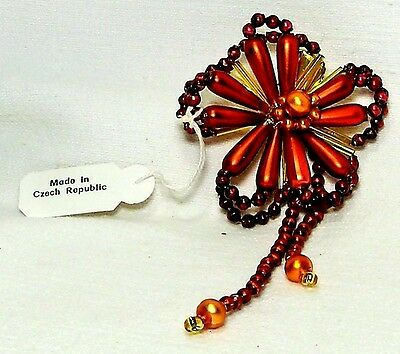 Clip On~Mold Blown Beaded Glass~Red Garnet Flower Ornament/Gift~CZECH REPUBLIC