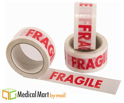 """36 Rolls White Red Fragile Marking Box Tape Shipping Packing 2"""" x 330' 2 Mil"""