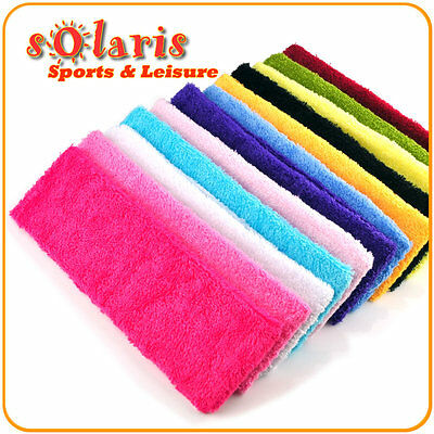 2 x Cotton Sports Headbands Comfortable Absorbent Elastic Sweatband in 12 Colors