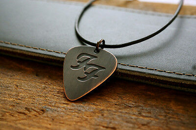 Hand Made Copper Foo Fighters Guitar Pick with Necklace