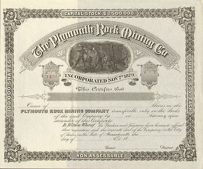 Plymouth Rock Mining Company   1800s Massachusetts mine stock certificate share
