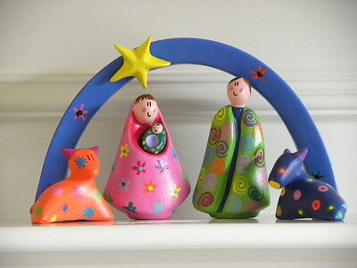 """Nativity Set in color with arc, arc is 9 x 5.5"""" tall, made by Catam"""