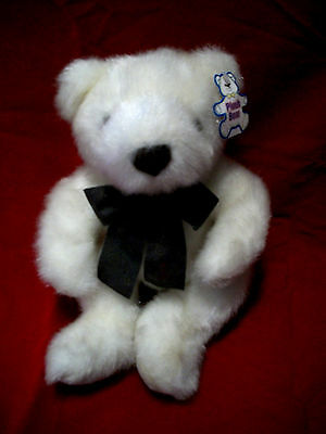 """WHITE BEAR with a gray bow tie (13"""" tall) with a PLUSH BEAR TAG Cute!!!!!"""