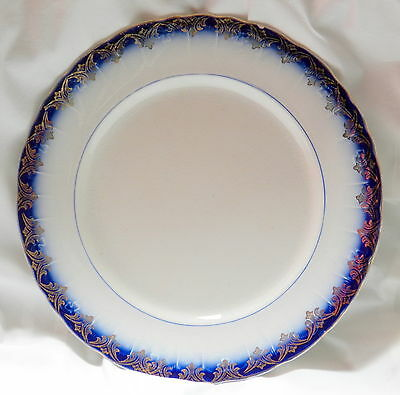 Vintage Limoges China 9 1/2 inch plate, blue & white & gold