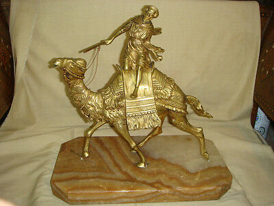 ANTIQUE 19th CENTURY FRENCH BRONZE SCULPTURE OF BEDOUIN RIDING CAMEL.