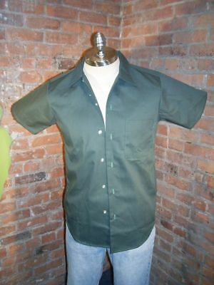 Vintage 1970's Men's Work/Chore Short Sleeve Shirt NWOT  Small  Industrial Green