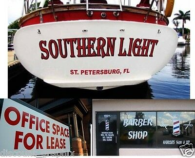 BOAT NAME TRANSOM VINYL DECAL LETTERING CUSTOM STICKER FOR BUSINESS STORE WINDOW
