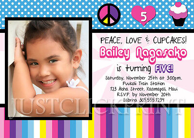 Girls Peace Love Cupcakes Birthday Party Invitation Any Colors