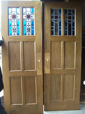 Pair OAK  doors Stained glass in top 2 panels