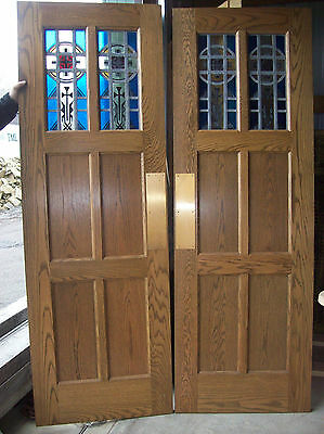 Nice Oak Panel Door Swing door set w/ stained glass in top 2 panels