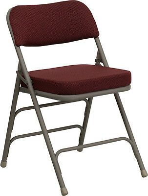 Lot 20 Steel Frame Burgundy Padded Seat Folding Chairs