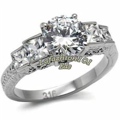Round Princess 316L Stainless Steel Womens Wedding Engagement Ring SZ 5-10