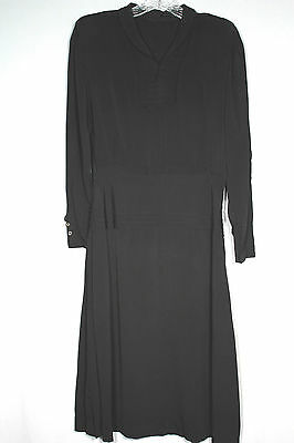 Rare French Vintage Late 1930's-1940's Wwii Era Rayon Black Dress Size 8