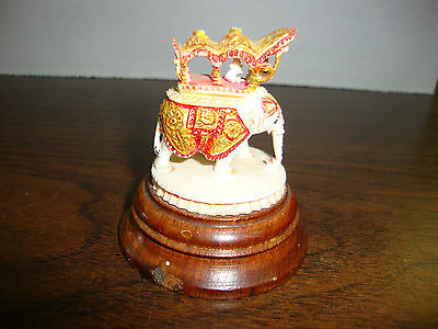 """Elephant On Wood Stand---Hand Made In India---1960's---2 1/2"""" Tall"""