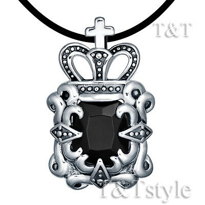 T&T Stainless Steel Crown Pendant Necklace With Black onyx (NP137)