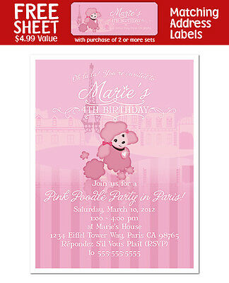 8 PINK POODLE French Paris Party Personalized INVITATIONS