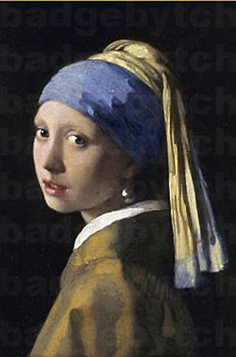 GIRL WITH A PEARL EARRING LARGE fridge magnet - CLASSIC VERMEER!