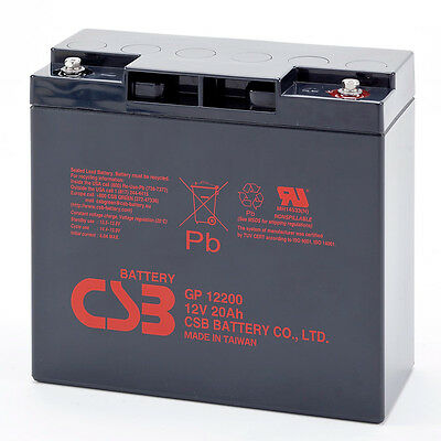 CSB GP 12200 Rechargeable Sealed Lead Acid UPS Battery 12V 20Ah GP12200 SLA