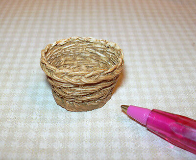 Miniature Resin Wicker Basket (TALL ROUND): A+ Value! DOLLHOUSE Miniatures