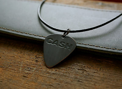 Hand Made Etched Copper Guitar Pick Necklace with Johnny Cash