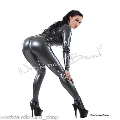 R0545 WESTWARD BOUND RRP £323 RUBBER LATEX CATSUIT 2 WAY ZIP/FEET Pewter SECONDS