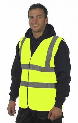 Hi viz Yellow Vest High Vis Visibility Work Bike Horse Reflective Jacket EN471