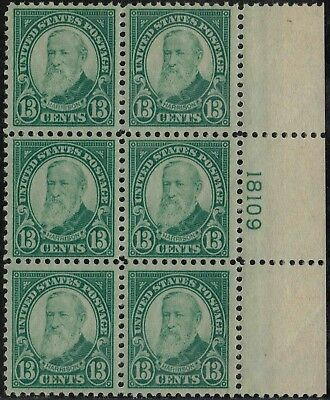 #622 Right Side Pb#18109 1926 13 Cent Flat Plate Issue Mint-Og/Nh-Small Gum Skip