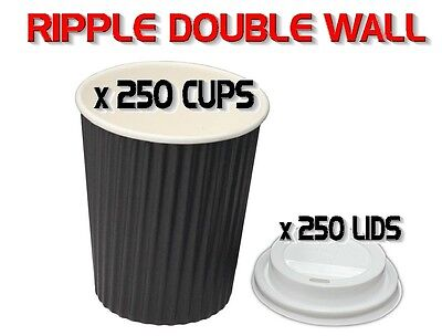 500 Pieces x 8oz BLACK 250ml Ripple Double Wall Coffee Cups + Lids Disposable