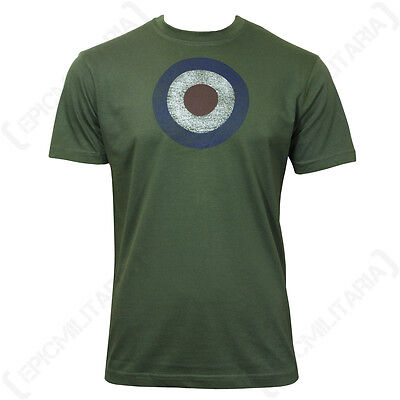 Green RAF T-Shirt - Roundel Air Force Military Men's Top Green All Sizes New