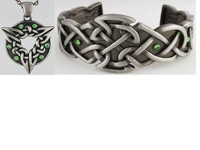 Celtic Knot & Ring Necklace with Celtic Bracelet ~ 24 in Chain~Lead Free Pewter~