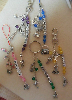 Personalised mobile phone ds bag ipod charm keyring Various Themes & colours