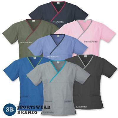 Ladies Contrast Crossover Scrub Top Shirt Nurse Doctor Medical Healthcare H10722