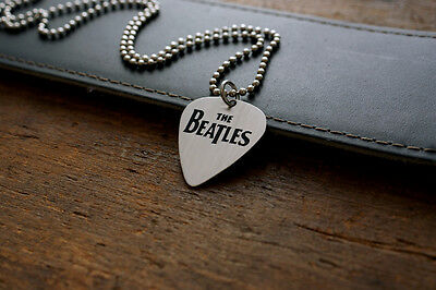 Hand Made Etched Nickel Silver Guitar Pick with The Beatles