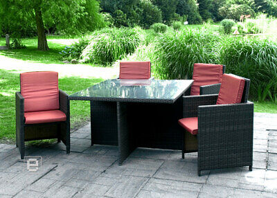 5tlg balkon set gartengarnitur tisch rattan look 79x79cm 4x stapelstuhl. Black Bedroom Furniture Sets. Home Design Ideas