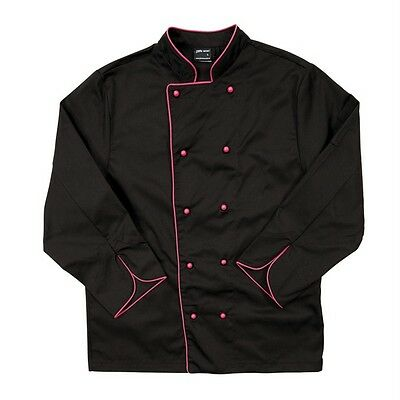 Long Sleeve Chef's Jacket Unisex Contrast Piping 4 Colours Restaurants Bars 5CJ