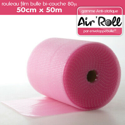 1 Rouleau de film bulle d'air ANTISTATIQUE 50cm x 50m