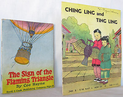 2 Vintage Illustrated Childrens Books The Flaming Triangle 1922 Ching Ling 1936