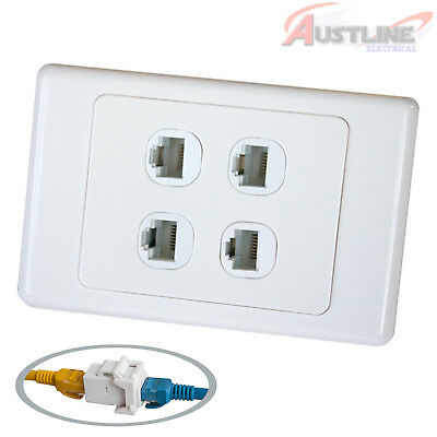 4 RJ45 Cat6 Network LAN Coupler F/FJack with 4Port Wall Plate cw4c6ff